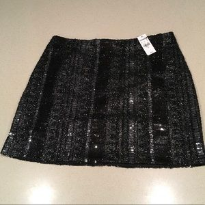 Express Black & Silver Sequin Skirt NWT